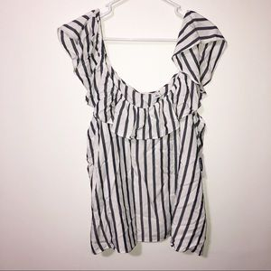 Old navy navy blue white striped ruffle strap top